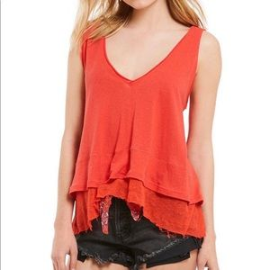 NWT FREE PEOPLE tiered frayed hem tank top…